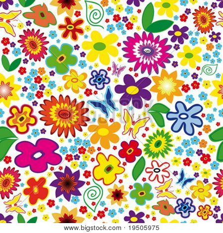 Vektor Seamless Floral Background mit Blumen und Schmetterlingen (siehe Raster Version auch In My Portf