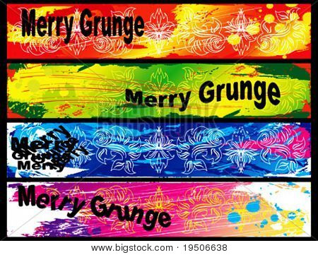 Banners fijado para su texto, decorado con flores y elementos grunge en verde, rojo, azul y Morad