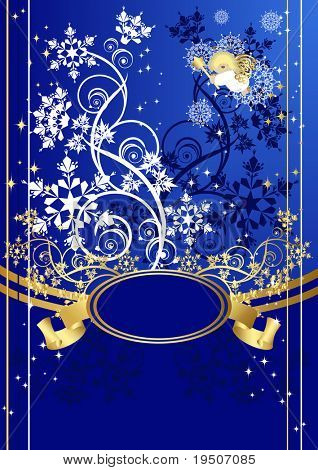 Snow branch Christmas and New Year background Banner for your text, decorated of branches and Snowflakes on a blue background with postcard with an angel JPG (See Vector  Also In My Portfolio)