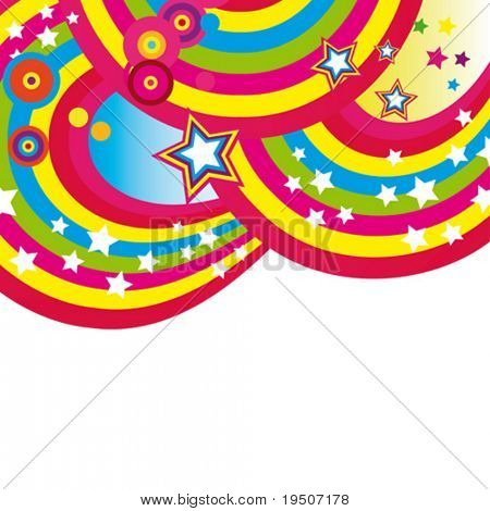 Festive abstract background of the brightest bands, arcs, circles and stars on a white background. 6/22. VECTOR (See Jpeg Also In My Portfolio)