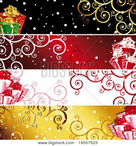 Vector Christmas banners with snow and present. (See raster version  Also In My Portfolio)