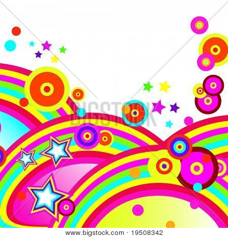 Festive abstract background of the brightest bands, arcs, circles and stars on a white background. 5/22. JPG (See Vector  Also In My Portfolio)