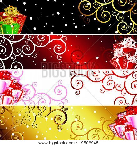 Raster Christmas banners with snow and present. (See vector version  Also In My Portfolio)