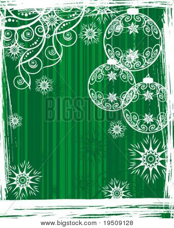 Vector version. Christmas and New Year's background. Decor white patterns and snow in the bright green striped background.