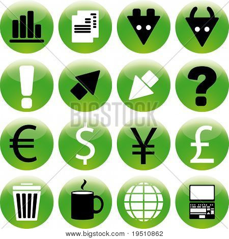 Collection of green icons Stock Exchange.