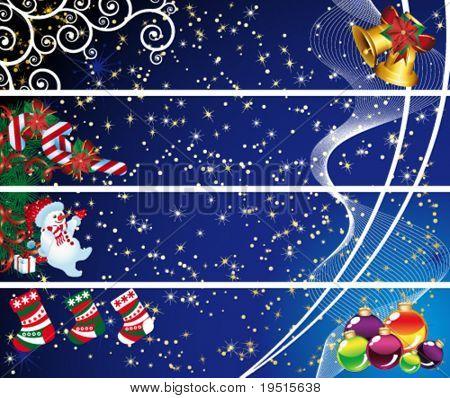 Four Christmas banners