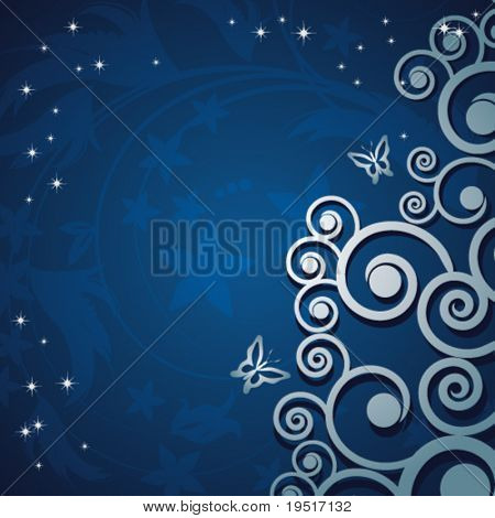Magic floral background with silver curles.