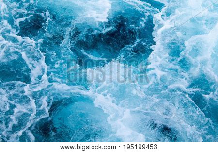 poster of Sea ship trail with foamy wave. Tropical islands ferry travel. Cruiseliner seawater trail. Deep ocean top view. Big ship pitching image. White swirl wave on sea surface. Marine travel banner template