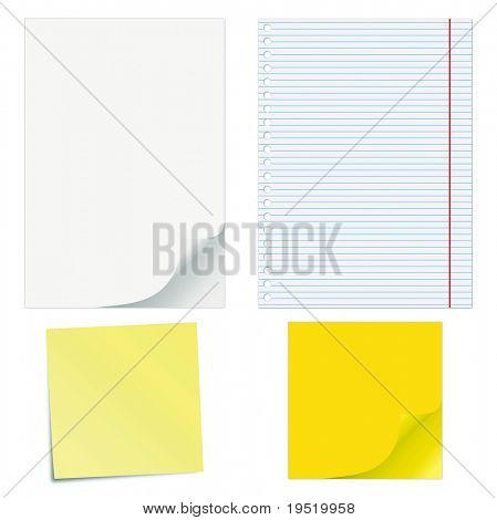 Blank papers with curled corners and notepad lined page.