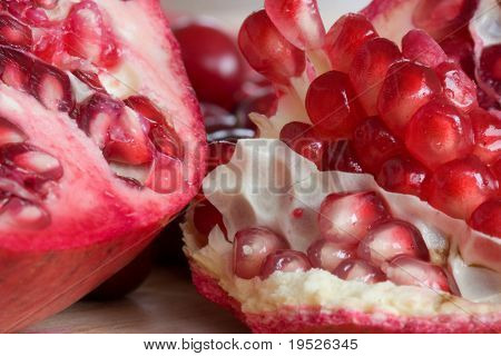 pomegranate - cut open with seeds