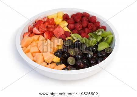 fresh fruit salad in a bowl - white isolation