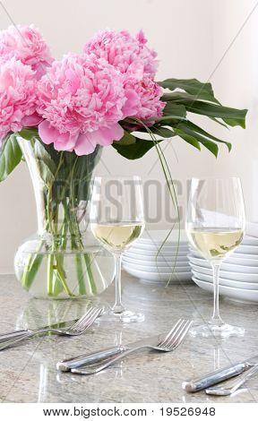 cutlery, wine, plates & flowers - elegant mealtime