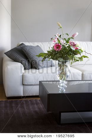 bouquet of flowers in modern white living room