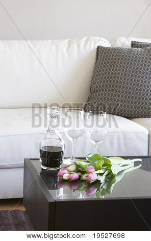 tulips and wine in modern living room