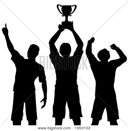 Trophy Winners Celebrate Sports Victory