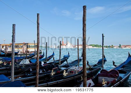 Berth with gondolas and canal San Marco Venice, Italy