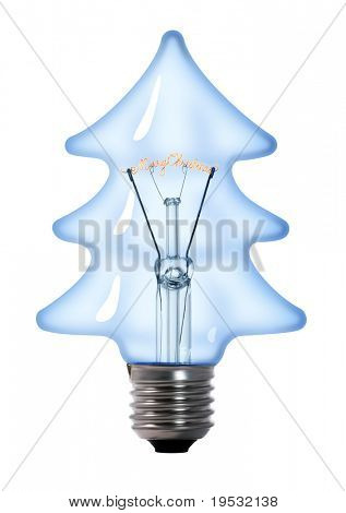 christmas tree tungsten light bulb lamp on white background