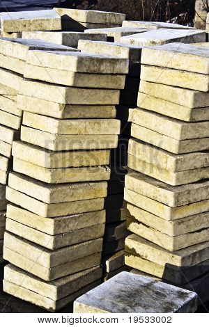 Heap of yellow brick. Building sait Close up of a pile of yellow bricks. ?onstruction material.