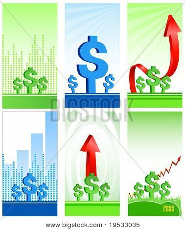 Business & Finance Icons. Arrow, diagram and symbols of dollars Make your reports or presentations more illustrative
