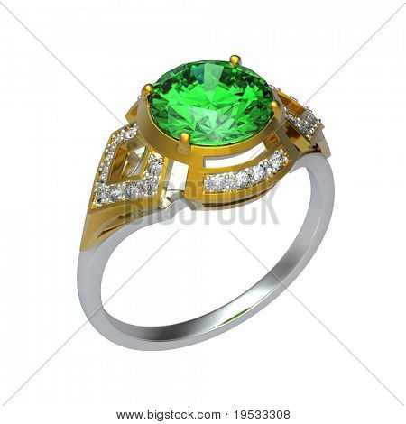 3d rendering of a peridot ring on white bacground