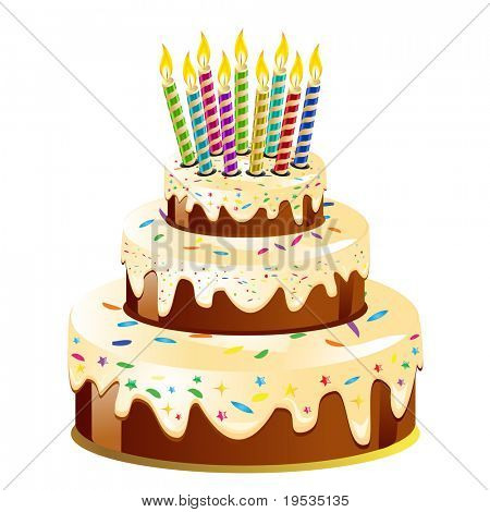 Birthday cake and candle.Vector Illustration