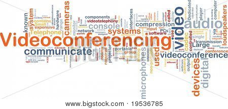 Background concept wordcloud illustration of videoconferencing