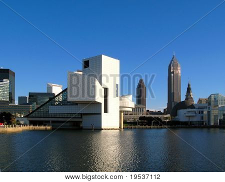 Rock and Roll Hall of Fame and Cleveland skyline.  (Editorial Use Only)
