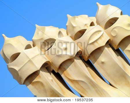 Abstract view of Antonio Gaudi's La Pedrera in Barcelona. Spain.  Built in 1906-1910.