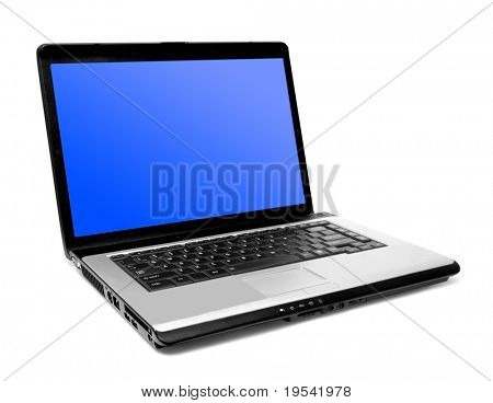 one modern laptop on the white backgrounds