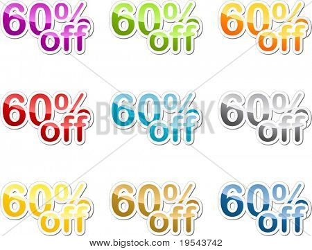 Sixty percent off sales reduction marketing announcement sticker