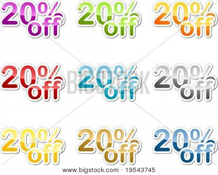 Twenty percent off sales reduction marketing announcement sticker