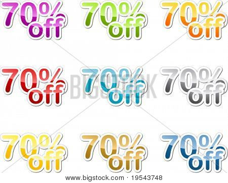 Seventy percent off sales reduction marketing announcement sticker