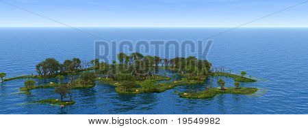 Small green islands with green trees - 3d illustration.