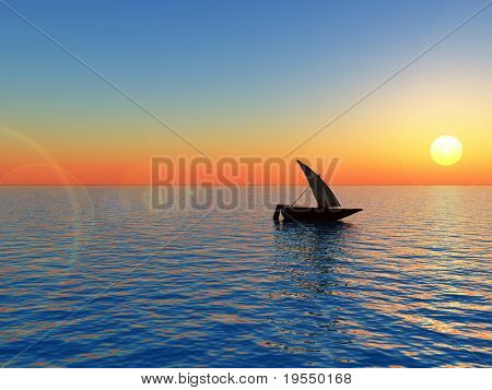 Small boat at sunset - 3d landscape scene .