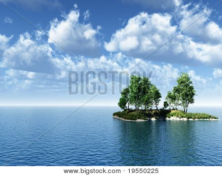 Small green island with birch  trees - 3d illustration.