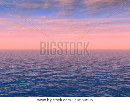 Schönes Meer und rosa Himmel bei Sonnenuntergang - digitaler Werke