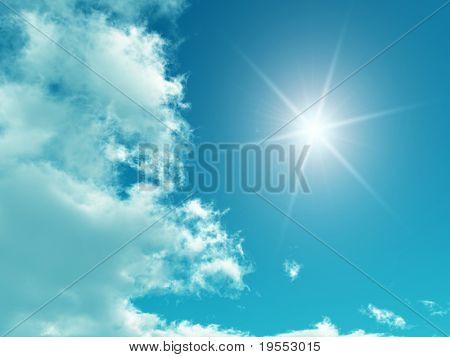 Céu azul com nuvens brancas - obras de arte digital.