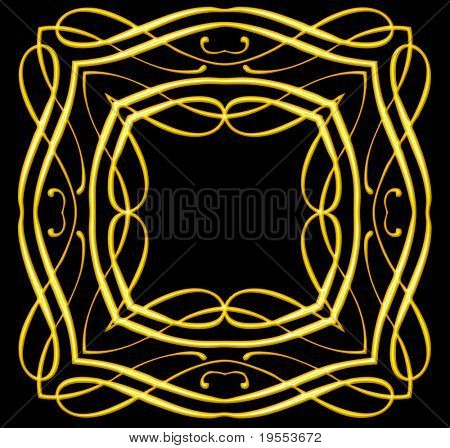 Golden frame isolated on a black background