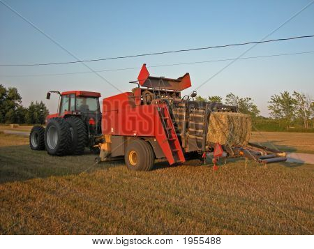 Tractor And Hay Baler