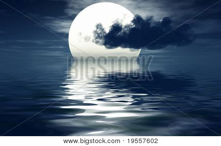 Full moon with clouds - digital artwork