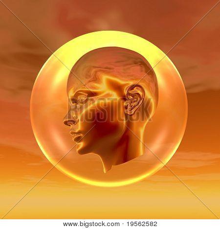Cyborg head in a glass ball