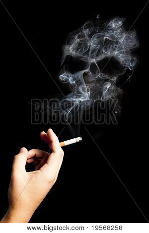 Hand Holding A Cigarette With Deadly Smoke.