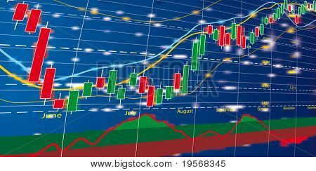 Vector illustration of forex growth candlestick diagram
