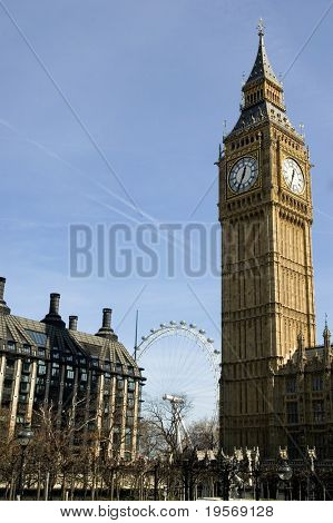 Big Ben in the spring with London Eye in background