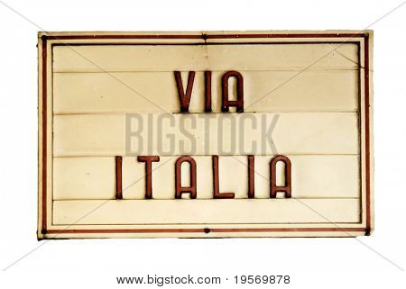 Wonderful old street sign from Italy