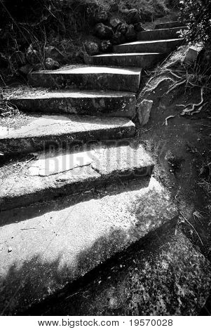 Old black and white steps leading up an old path