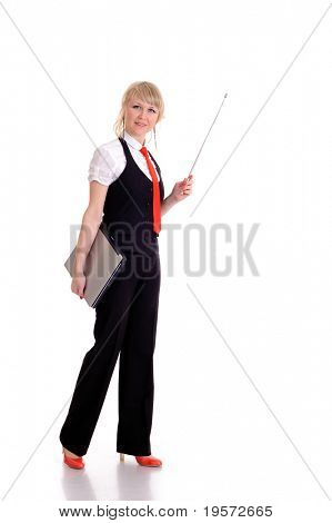 pretty young businesswoman or instructor with pointer, isolated on white