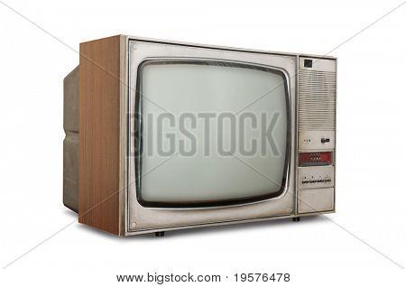 TV de tubo antiquado isolado em um fundo branco.