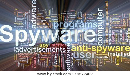 Background concept wordcloud illustration of spyware glowing light