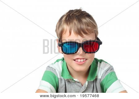 little boy in striped shirt and anaglyph glasses isolated on white